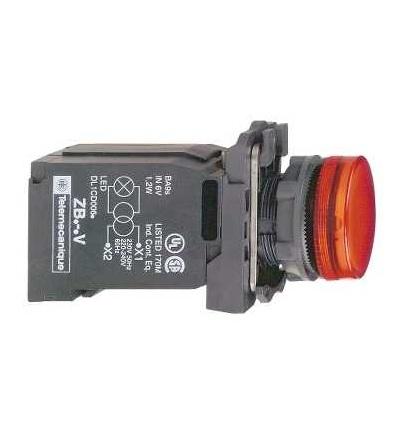 Schneider Electric XB5AV44 červená kompletní signálka ? 22 plná čočka s BA9s žárovkou 220...240V