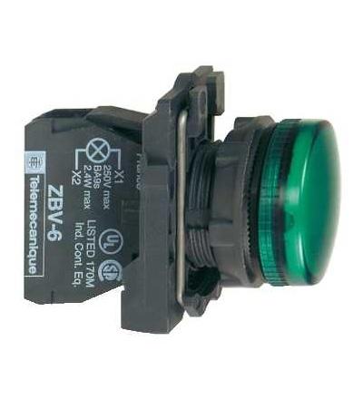 Schneider Electric XB5AV63 Zelená kompletní signálka ? 22 plná čočka pro BA9s žárovka ?250V