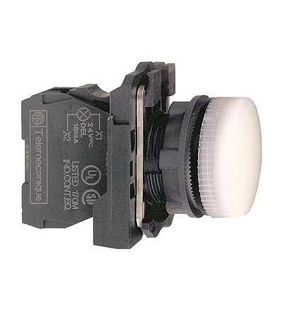 Schneider Electric XB5AV61 Bílá kompletní signálka ? 22 plná čočka pro BA9s žárovka ?250V