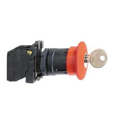 Schneider Electric XB5AS142 červená O40 nouzové zastav. tlač. ? 22 s aretací uvolnění klíčem 1V