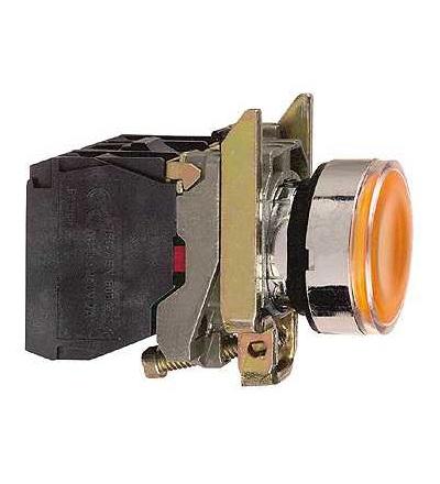 Schneider Electric XB4BW35M5 Oranž. ovl. stiskací prosvětlený lícující ? 22 s návratem 1Z+1V 220...240V