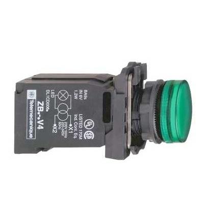 Schneider Electric XB5AV43 Zelená kompletní signálka ? 22 plná čočka s BA9s žárovkou 220...240V