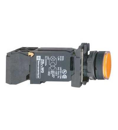 Schneider Electric XB5AW3545 Oranž. ovl. stiskací prosvětlený lícující ? 22 s návratem 1Z+1V 220...240V