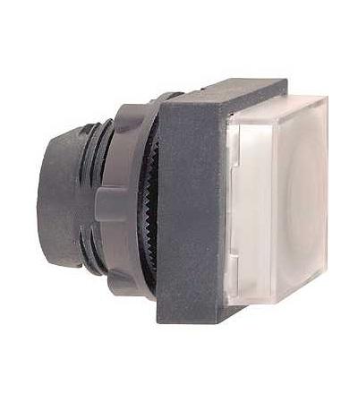 ZB5CW113 Bílá čtver.s přesah.ovl.hlavice stiskací prosvět.? 22 s návratem pro integ.LED, Schneider Electric