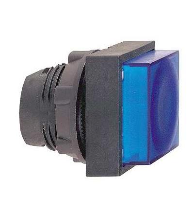 ZB5CW163 Modrá čtver.s přesah.ovl.hlavice stiskací prosvět.? 22 s návratem pro integ.LED, Schneider Electric