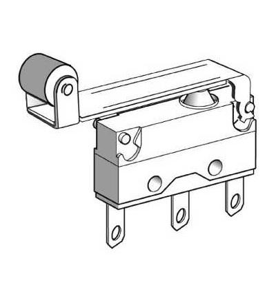 XEP4E1W7A454 Miniaturní polohový spínač, páka s kladkou, 2,8mm kabel.nacvak.čep, Schneider Electric