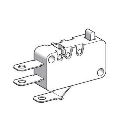 XEP3S2W3 Min.pol. spínač-kontakty s nízkou silou-plochý čep-6,35mm štítky kab. příchytek, Schneider Electric