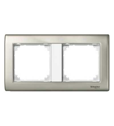 Schneider Electric MTN467219 Merten, M-Star rámeček, dvojnásobný, satin silver/polar