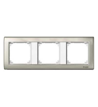 Schneider Electric MTN467319 Merten, M-Star rámeček, 3násobný, satin silver/polar