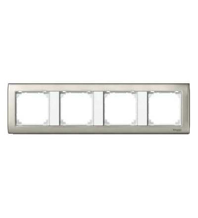 Schneider Electric MTN467419 Merten, M-Star rámeček, čtyřnásobný, satin silver/polar