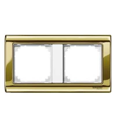 Schneider Electric MTN487219 Merten, M-Star rámeček, dvojnásobný, polished brass/polar