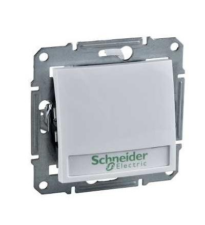 SDN1700421 Ovládač tlačítkový 12V s orientační kontrolkou s držákem štítku, ř. 1/0So, polar, Schneider Electric