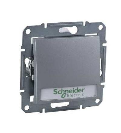 SDN1600360 Ovládač tlačítkový s orientační kontrolkou s držákem štítku, ř. 1/0So, alu, Schneider Electric