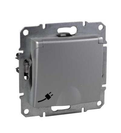 SDN3100160 Zásuvka Schuko 2P+PE s dětskými clonkami, alu, Schneider Electric