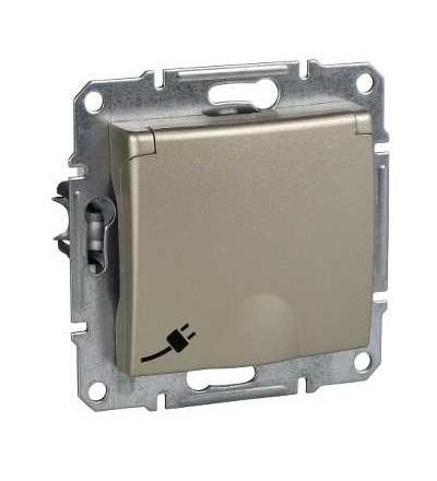 SDN3100168 Zásuvka Schuko 2P+PE s dětskými clonkami, titan, Schneider Electric