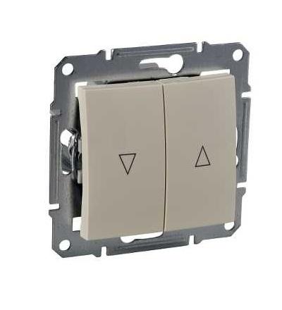 SDN1300347 Spínač jednopólový ovládače žaluzií, ř. 1+1, mech. blokování, beige, Schneider Electric