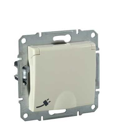 SDN3100347 Zásuvka schuko 2P+PE IP44 s dětskými clonkami, beige, Schneider Electric