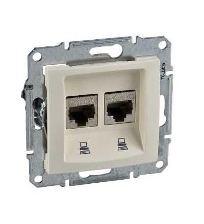 SDN5000147 Zásuvka datová 2xRJ45 kat.6 STP, beige, Schneider Electric