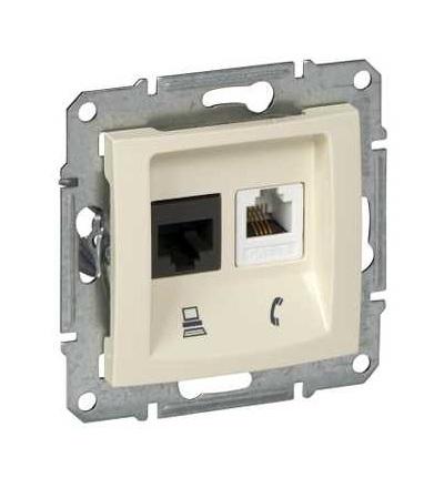 SDN5200147 Zásuvka telefonní RJ11 a datová 1xRJ45 kat.6 UTP, beige, Schneider Electric