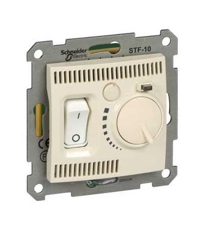SDN6000347 Termostat pro podlahové vytápění otočný s vypínačem, beige, Schneider Electric