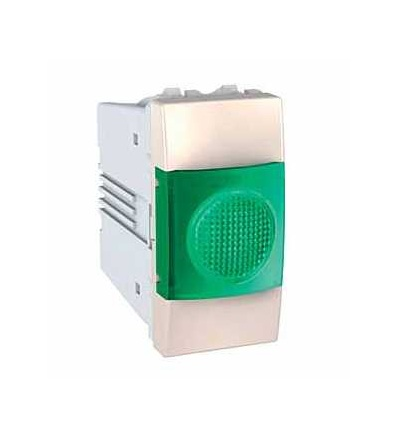 Schneider Electric MGU3.775.25V Unica, indikační světlo, 220V AC, 1mod., green, marfil