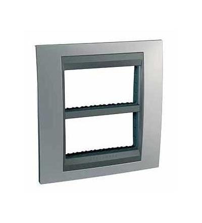Schneider Electric Unica Top-krycí rámeček (upev. rámeček)-dvojnásobný (H)-2x4mod. chrome/grafit MGU49.424.238