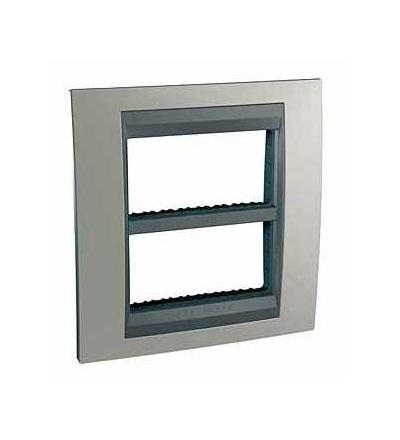 Schneider Electric Unica Top-krycí rámeček (upev.rámeček)-dvojnásobný (H)-2x4mod.-nikl/grafit MGU49.424.239