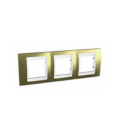 Schneider Electric Unica Plus, krycí rámeček, trojnásobný, H71, gold/polar MGU66.006.804