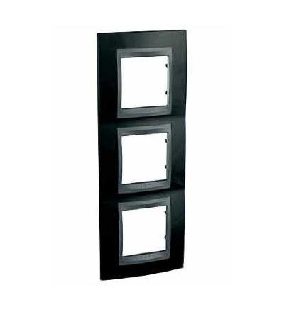 Schneider Electric Unica Top, krycí rámeček, trojnásobný, rhodium black/grafit MGU66.006V.293