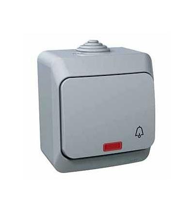 WDE000615 Cedar Plus, ovládač tlačítkový-16A-orientační kontrolka-symbol zvonek-šedá, Schneider Electric