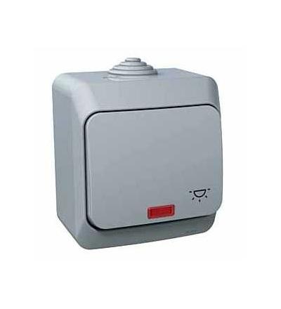 WDE000616 Cedar Plus, ovládač tlačítkový-16A-orientační kontrolka-symbol světlo-šedá, Schneider Electric