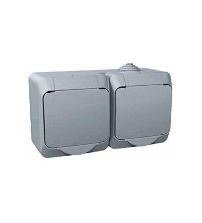 WDE000623 Cedar Plus, zásuvka dvojnásobná 230V 16A 2p+SE (VDE), krytky, šedá, Schneider Electric