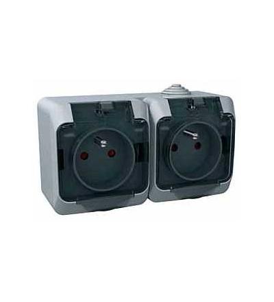 Schneider Electric WDE000624 Cedar Plus, zásuvka dvojnásobná 230V 16A 2p+PE, krytky, čirý kryt, šedá