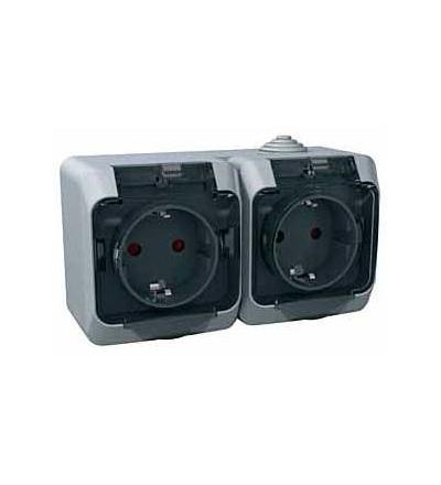 WDE000625 Cedar Plus, zásuvka dvojnásobná 230V 16A 2p+SE (VDE)-krytky-čirý kryt-šedá, Schneider Electric