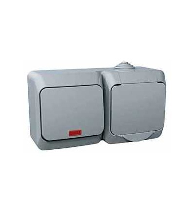 WDE000681 Cedar Plus, zás. 230V 16A a spínač jednopólový s orient.kontrol. ř.1So, šedá, Schneider Electric