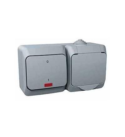 WDE000683 Cedar Plus-zásuvka 230V 16A a spínač dvoupólový se signal.kontrolkou ř.2Ss-šedá, Schneider Electric