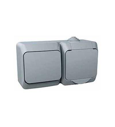 WDE000600 Cedar Plus, zásuvka VDE 230V 16A+jednopólový spínač č.1, 16A(X), šedá, Schneider Electric