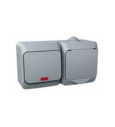 WDE000601 Zásuvka VDE 230V 16A a spínač jednopólový s orient.kontrolkou ř.1So, šedá, Schneider Electric