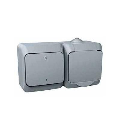 WDE000602 Zásuvka VDE 230V 16A a spínač dvojpólový ř.2, šedá, Schneider Electric
