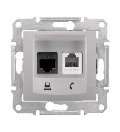 SDN5200160 Sedna, zásuvka telefonní RJ11 a datová 1xRJ45 kat.6 UTP, alu, Schneider Electric