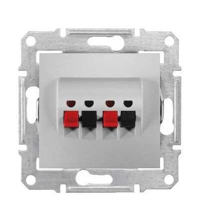 SDN5400160 Zásuvka reproduktorová dvojitá, alu, Schneider Electric