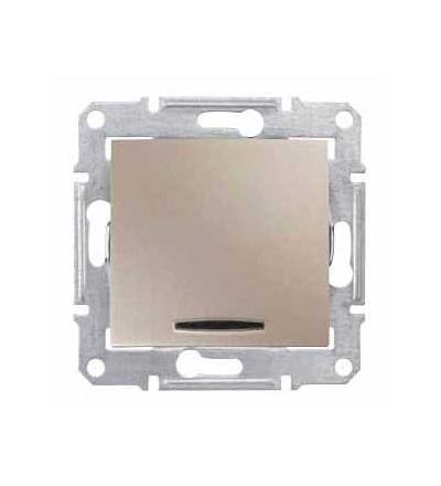 SDN1600168 Sedna, ovládač tlačítkový-10AX orientační kontrolka-bez rámečku- titan, Schneider Electric
