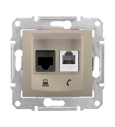 SDN5200168 Zásuvka telefonní RJ11 a datová 1xRJ45 kat.6 UTP, titan, Schneider Electric