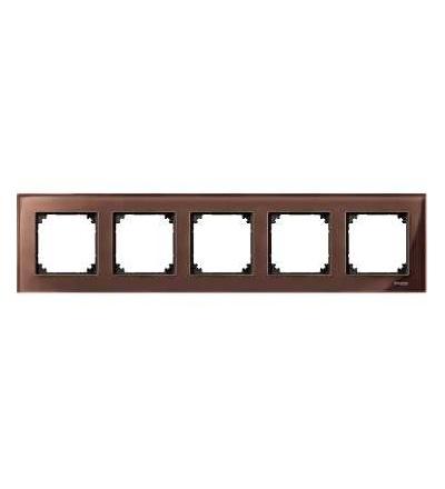 Schneider Electric MTN4050-3215 Merten M-Elegance Glass, krycí rámeček, 5-násobný, mahagony brown