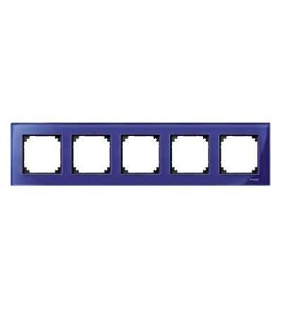 Schneider Electric MTN4050-3278 Merten M-Elegance Glass, krycí rámeček, 5-násobný, sapphire blue