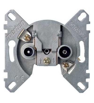Schneider Electric MTN466098 Merten, mechanismus průchozí anténní zásuvky, 2 výstupy R/TV+SAT