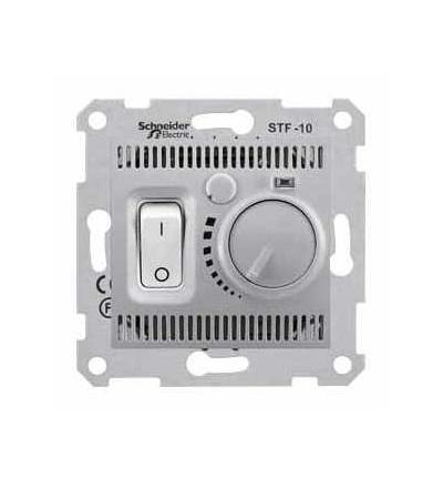 SDN6000360 Sedna-termostat pro podlahové vytápění otočný s vypínačem-10A bez rámečku- alu, Schneider Electric