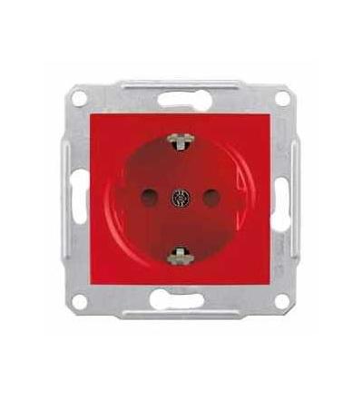 SDN3000341 Sedna, zásuvka schuko 2p+PE, 16A s dětskými clonkami, bez rámečku, red, Schneider Electric