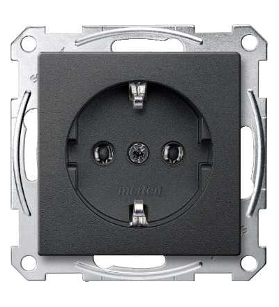 Schneider Electric MTN2301-0414 Merten, System M, zásuvka 1x2p+SE, 16A 250VAC, pruž. sv., anthracite