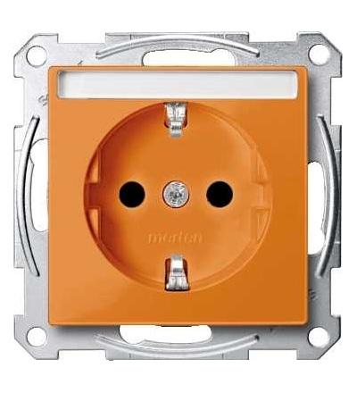 Schneider Electric MTN2302-0302 Merten, System M, zásuvka 1x2p+SE s cl, 16A 250VAC, pruž. sv., orange